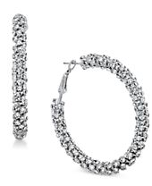 INC International Concepts Silver-Tone Crystal Hoop Earrings, Created for Macy's