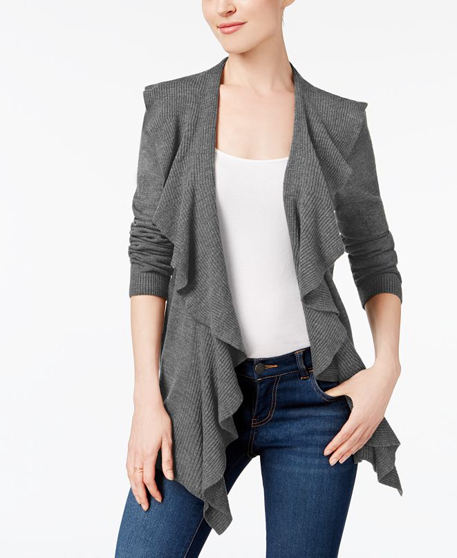 Karen Scott Petite Luxsoft Ruffled Cardigan Sweater, Created for Macy's