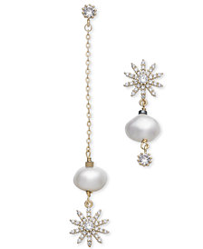 Paul & Pitü Naturally Gold-Tone Crystal & Imitation Pearl Mismatch Earrings