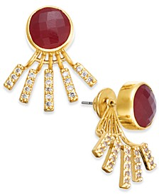 Gold-Tone Pavé & Red Stone Jacket Earrings