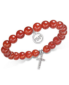 Paul & Pitü Naturally Silver-Tone Carnelian Beaded Charm Stretch Bracelet