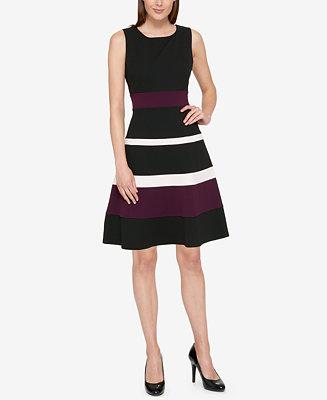 Tommy Hilfiger Colorblocked Fit & Flare Dress - Dresses ...