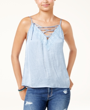 American Rag Juniors HammeredSatin LaceUp Camisole Created for Macys