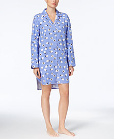 Charter Club Cotton Holiday Print Flannel Sleepshirt, Created for Macy's