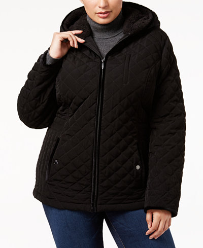 Laundry by Shelli Segal Plus Size Faux-Fur-Trim Quilted Coat ... : quilted jacket plus size - Adamdwight.com