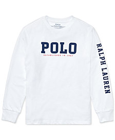 Ralph Lauren Graphic-Print Long-Sleeve Cotton T-Shirt, Big Boys