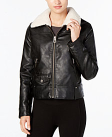 Lucky Brand Faux-Fur-Collar Faux-Leather Moto Jacket