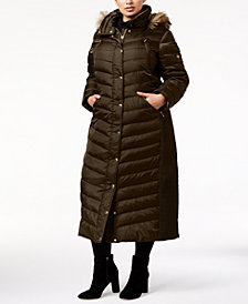 MICHAEL Michael Kors Plus Size Faux-Fur-Trim Hooded Maxi Coat