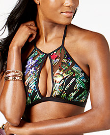 Kenneth Cole After the Sun Sets High-Neck Mesh Keyhole Bikini Top