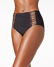 Kenneth Cole High-Waist Cutout Bikini Bottoms