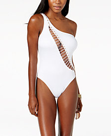 Kenneth Cole One-Shoulder Cutout Tummy-Control One-Piece Swimsuit
