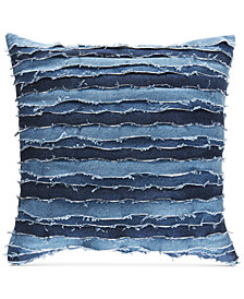 "Tommy Hilfiger Destroyed Denim 22"" Square Decorative Pillow"