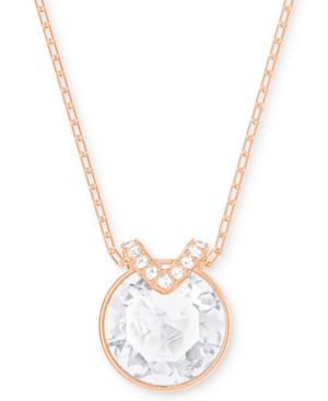 CRYSTAL AND PAVE PENDANT NECKLACE