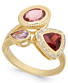 Multi-Gemstone (2-1/8 ct. t.w.) & Diamond (1/10 ct. t.w.) Ring in 14k Gold-Plated Sterling Silver