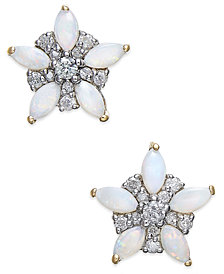Opal (1 ct. t.w.) & Diamond (1/5 ct. t.w.) Stud Earrings in 14k Gold