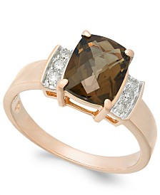 Smoky Quartz (1-9/10 ct. t.w.) & Diamond (1/8 ct. t.w.) Ring in 14k Rose Gold(Also Available in Green Quartz)