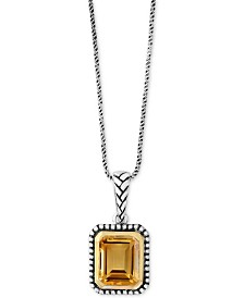 EFFY® Citrine Pendant Necklace (2-9/10 ct. t.w.) in Sterling Silver & 18k Gold