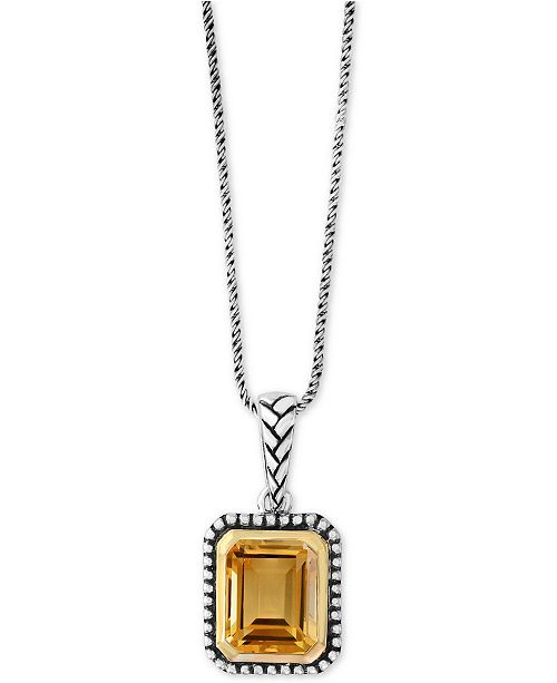 EFFY Collection EFFY® Citrine Pendant Necklace (2-9/10 ct. t.w.) in Sterling Silver & 18k Gold