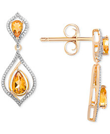 Citrine (1-1/10 ct. t.w.) & Diamond (1/5 ct. t.w.) Drop Earrings in 14k Gold