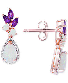 Opal (1-1/6 ct. t.w.),  Amethyst (1/2 ct. t.w.) & Diamond (1/10 ct. t.w.) Drop Earrings in 14k Rose Gold