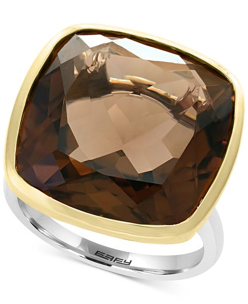 EFFY Collection EFFY® Smoky Quartz (20-1/5 ct. t.w.) Ring in Sterling Silver & 18k Gold