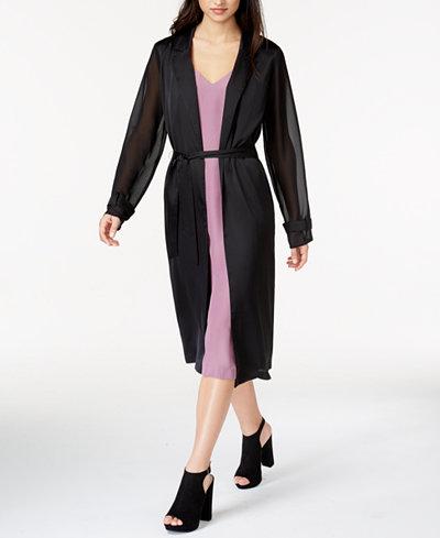 kensie Sheer-Sleeve Duster Cardigan - Sweaters - Women - Macy's