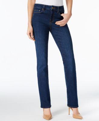 NYDJ Womens Petite Petite Size Marilyn Straight Leg Jeans