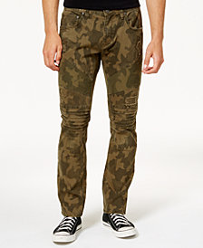 I.N.C. Men's Slim-Fit Stretch Camo Moto Jeans, Created for Macy's