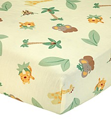 Jungle Babies  100% Cotton Animal-Print Fitted Crib Sheet