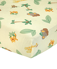 NoJo Jungle Babies  100% Cotton Animal-Print Fitted Crib Sheet
