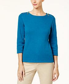 Karen Scott Cotton Zip-Shoulder Sweater, Created for Macy's