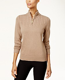 Marled-Knit Quarter-Zip Sweater, Created for Macy's