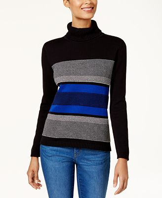Karen Scott Petite Cotton Turtleneck Sweater, Created for Macy's ...