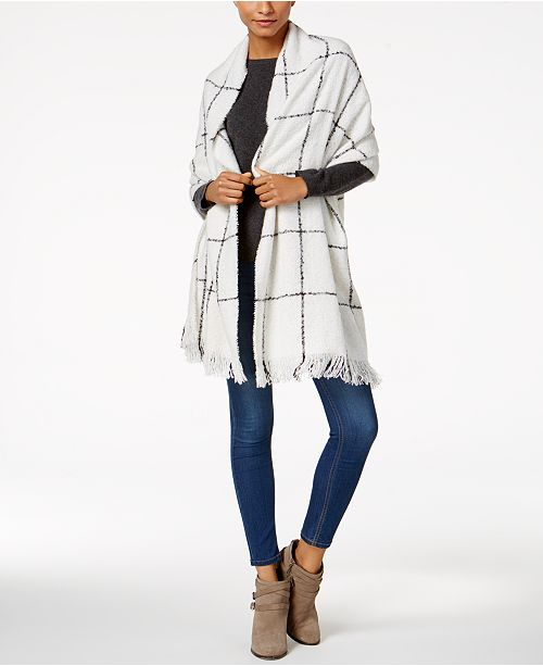Charter Club Windowpane Plaid Supersoft Wrap & Scarf in One, Created for Macy's