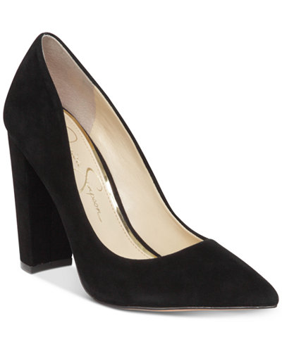 Jessica Simpson Tanysha Pointed Block-Heel Pumps