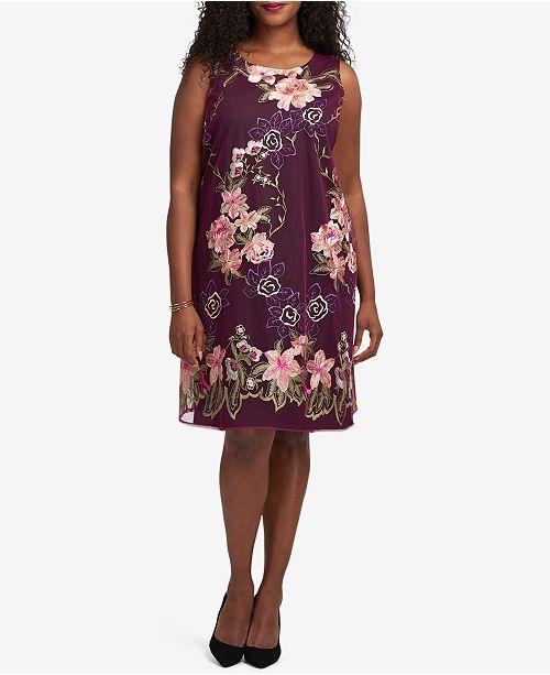 Eci Plus Size Embroidered Trapeze Dress Dresses Plus Sizes Macys