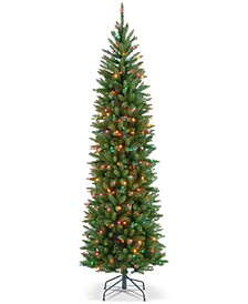 6.5' Kingswood Fir Hinged Pencil Tree With 250 Multicolor Lights
