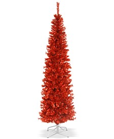 6' Red Tinsel Tree With Metal Stand