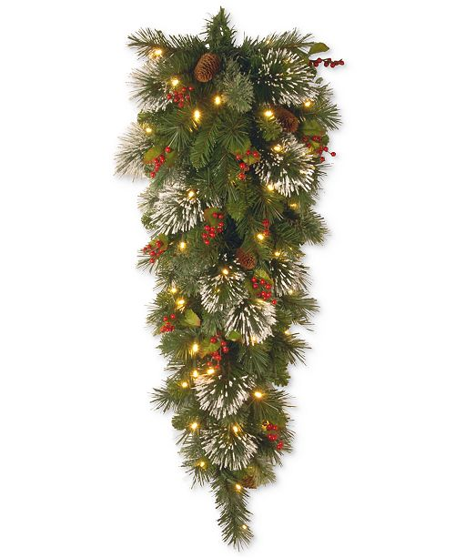 National Tree Company 4' Wintry Pine LED Tear Drop Swag With Cones, Red Berries & Snowflakes