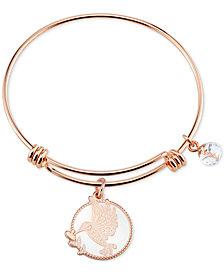 Unwritten Hummingbird Bangle Bracelet in Rose Gold-Tone Stainless Steel