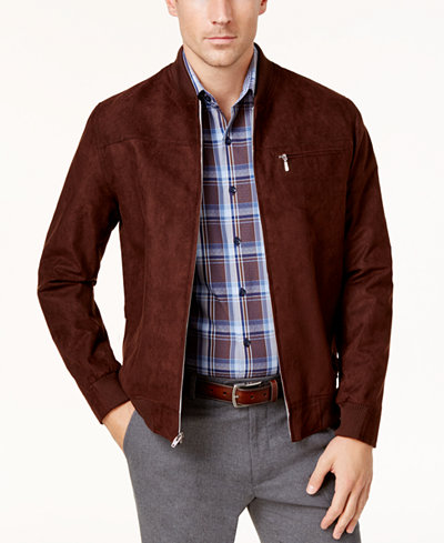 Tasso Elba Men's Suede Bomber Jacket, Created for Macy's - Coats ...