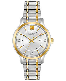 Bulova Women's Diamond Dress Diamond-Accent Two-Tone Stainless Steel Bracelet Watch 32mm, Created for Macy's