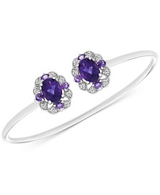 Amethyst (2-5/8 ct. t.w.) & White Topaz (1/2 ct. t.w.) Cuff Bangle Bracelet in Sterling Silver