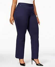 I.N.C. Plus Size Pull-On Straight-Leg Ponte Pants, Created for Macy's