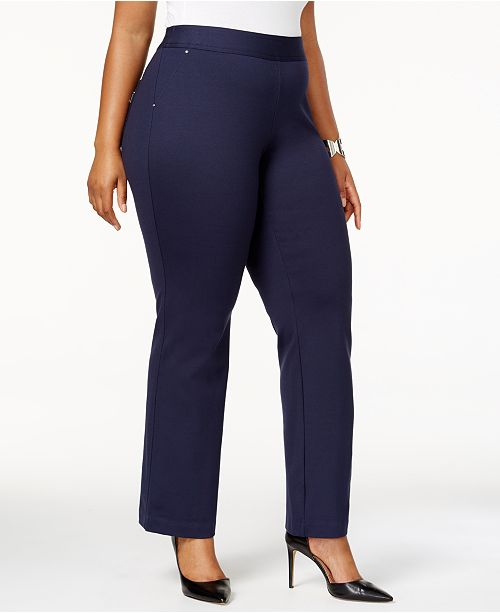 INC International Concepts I.N.C. Plus Size Pull-On Straight-Leg Ponte Pants, Created for Macy's