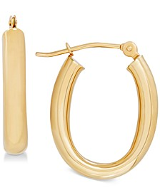 Polished Tube Oval Hoop Earrings in 10k Gold, 4/5 inch