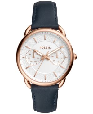 Tailor Multifunction Leather Strap Watch, 35Mm, Blue/ Silver/ Rose Gold