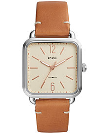 Fossil Women's Micah Brown Leather Strap Watch 32x32mm