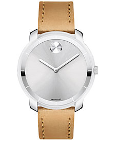Movado Women's Swiss Bold Vachetta Leather Strap Watch 36mm
