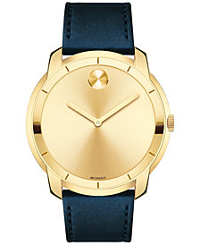 Movado Men's Swiss Bold Navy Leather Strap Watch 44mm